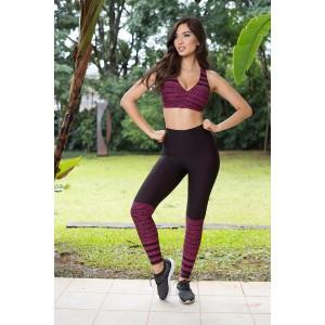 Conjunto Fitness Fashion - Preto e Rosa | Calça + Top