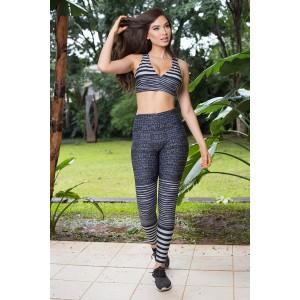 Conjunto Fitness Fashion - Estampada cinza | Calça + Top