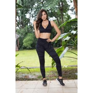 Conjunto Fitness Fashion - Estampada Preta | Calça + Top